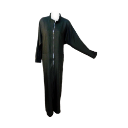 Womens Long Zipup Ban Collared Abaya